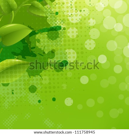 Green Nature Background With Blur Blob And Leaf, Vector Illustration - stock vector
