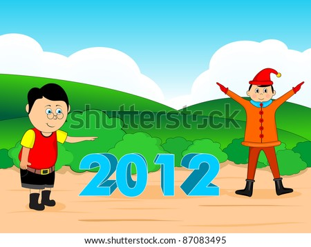 green nature background with cute boys 2012 in middle - stock vector