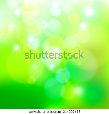 green nature bokeh abstract light background. Vector illustration - stock vector