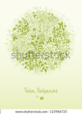 Green nature circle design element background - stock vector