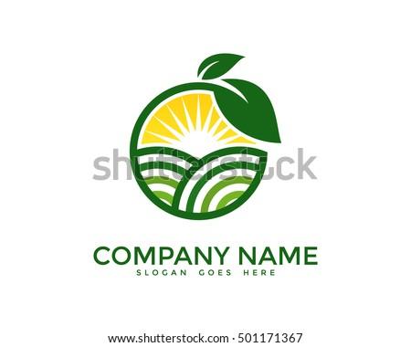 Green Nature Farm Logo Design Template Stock Vector 501171367 ...