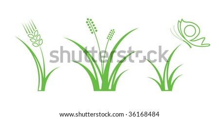 Green Nature Icons. Part 1 - Grass - stock vector
