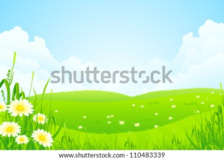 Green Nature Landscape with Flowers and Clouds