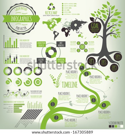 Green nature vector infographics. Info graphic elements for data visualization. Vector EPS10 file. Easy to edit, elements on different layers and groups. Layers outlined. - stock vector
