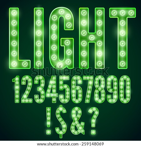 Green neon font with show lamps, vector number set - stock vector