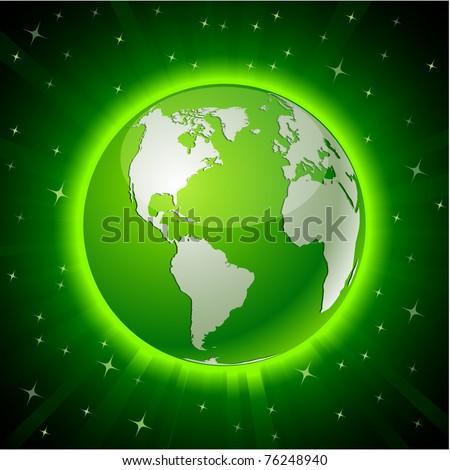 Green neon high-detailed earth ball. Vector. - stock vector
