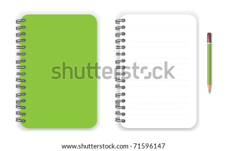 Green notebook and pencil - stock vector
