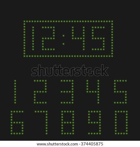 Green number set, Digital clock, alarm clock. Vector illustration - stock vector