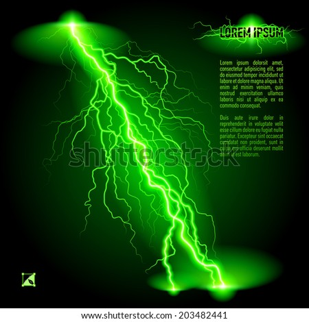 Green oblique branchy lightning line. Illustration with space for text - stock vector