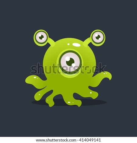 Green Octopus Alien Cute Childish Flat Vector Bright Color Drawing Isolated On Dark Background - stock vector