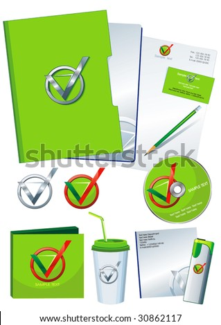 Green Office elements and accesories. Vector business set of secretarial things and supplies. Workplace with paper and folder. Collection _9