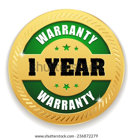 Green one year warranty button with gold border on white background - stock vector