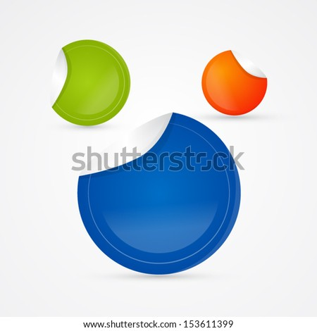 Green, Orange and Blue Vector Empty Stickers, Labels