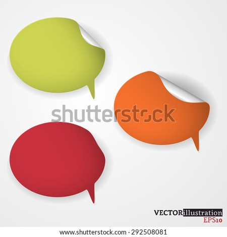 Green, orange and red colored speech bubble on the light background. Vector illustration. - stock vector