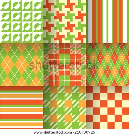 Green & Orange backgrounds. Seamless pattern background print on sportswear for golf. Vector illustration EPS-10. Pattern Swatches made with Global Colors - quick, simple editing of color - stock vector