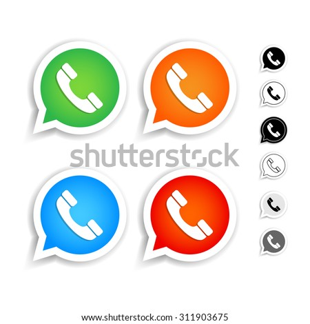 Green, orange, blue, red phone handset in speech bubble vector icons set. Black and white versions. Isolated vector illustrations. - stock vector