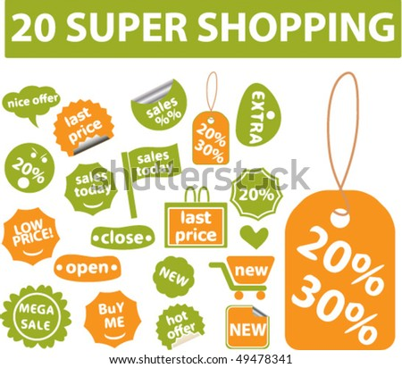 green-orange brazil shopping stickers. vector