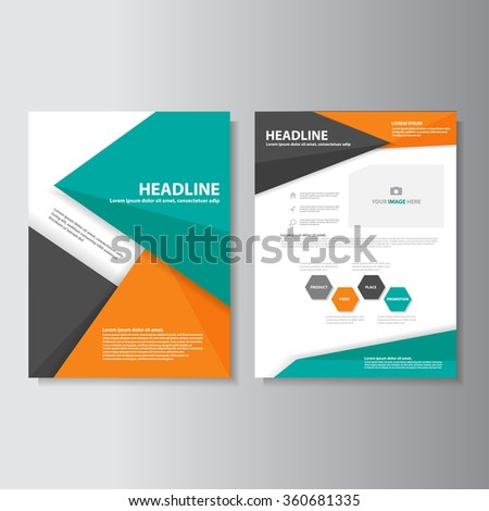 Green Orange brochure A4 flyer leaflet template set for marketing aand advertising  - stock vector