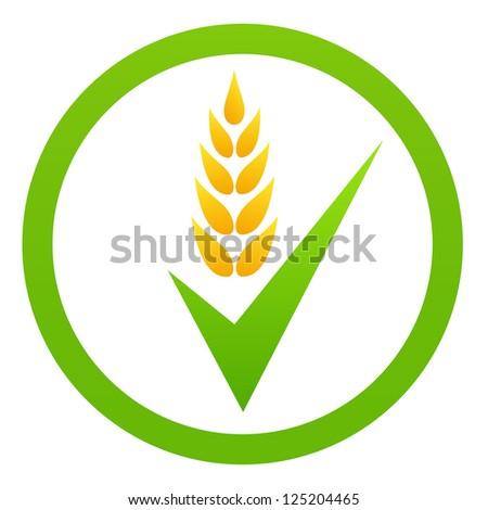 Green organic eco food symbol - stock vector