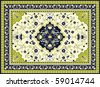 Green oriental vector carpet - stock vector