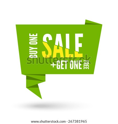 Green Origami paper speech bubble for sale. Vector ribbon banner design for advertising - stock vector
