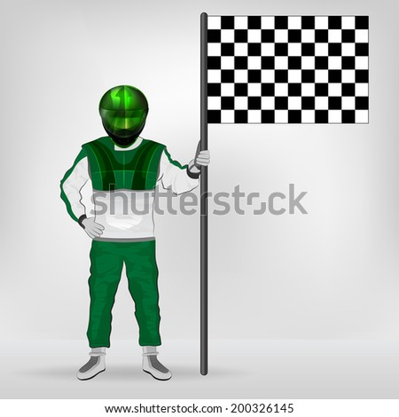 green overall standing racer holding checked flag vector illustration - stock vector
