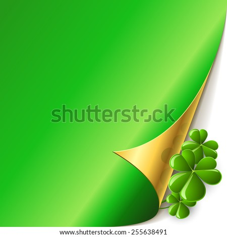 Green page corner with shamrock leaves St. Patricks Day vector card. - stock vector