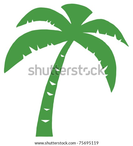 Green Palm Three Silhouette - stock vector