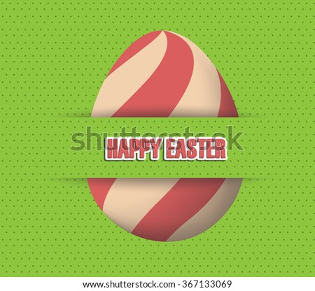 green Paper card with striped easter eggs - stock vector