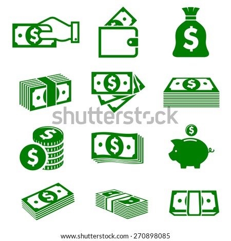 Green paper money and coins icons isolated on white background for business and commerce design - stock vector