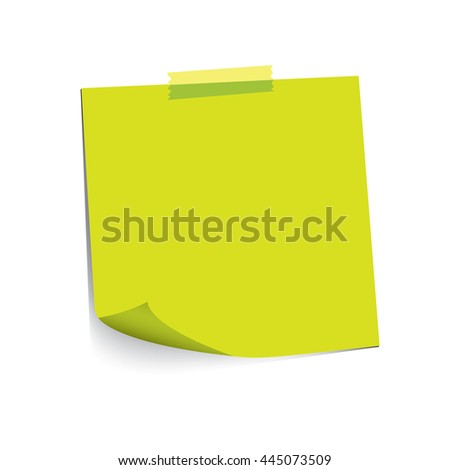 green paper note and adhesive tape with curled corner, ready for your message. Vector illustration. Isolated on white background. Front view. Top view. Close up.