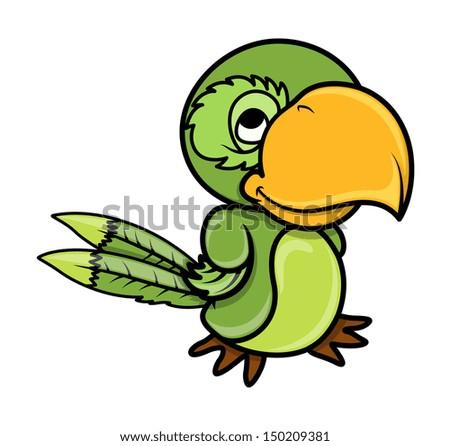 Parrot Cartoon Pictures Green Parrot Vector Cartoon
