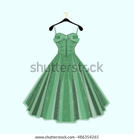 Green party dress. Vector fashion illustration.