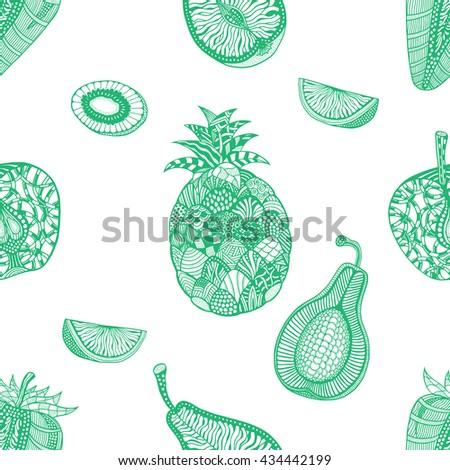 Green pattern backgroud of fruit. Plant. Exotic fruit. Line art. Hand drawn. Doodle vector illustration. - stock vector