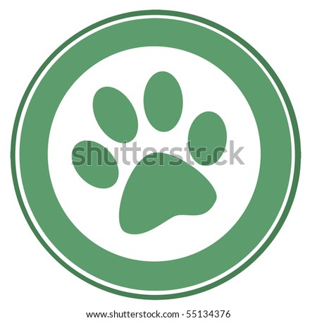 Green Paw Print Banner - stock vector