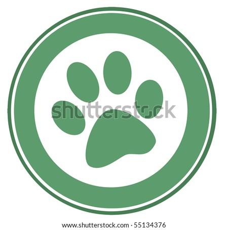 Green Paw Print Banner - stock vector