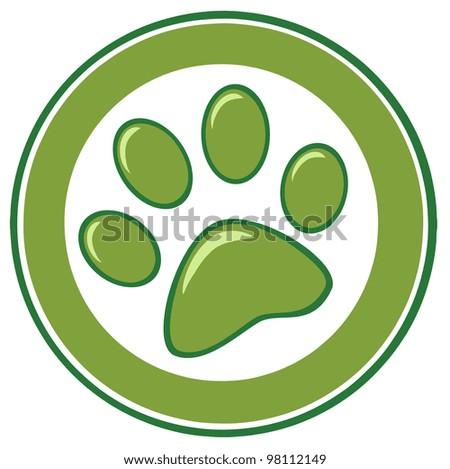 Green Paw Print Banner. Vector Illustration - stock vector