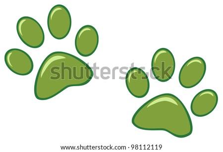 Green Paw Prints. Vector Illustration - stock vector