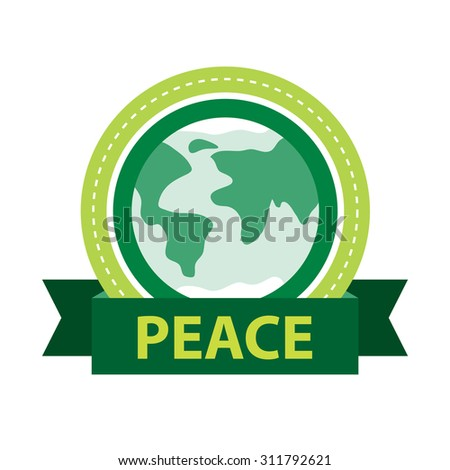 Green Peace label. Global unity vector illustration. - stock vector