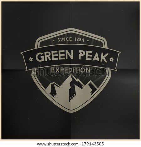 Green Peak Expedition Badge - stock vector