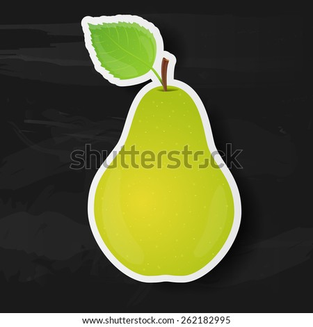 Green pear isolated on black background. Vector illustration. - stock vector