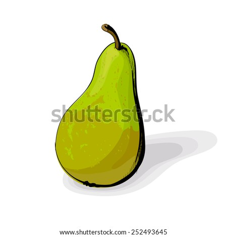 green pear on white background - stock vector