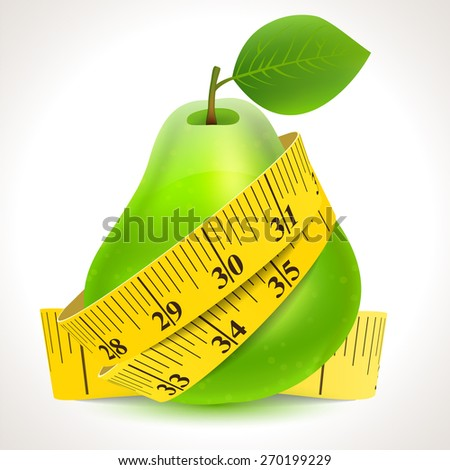 Green pear with yellow measuring tape - stock vector
