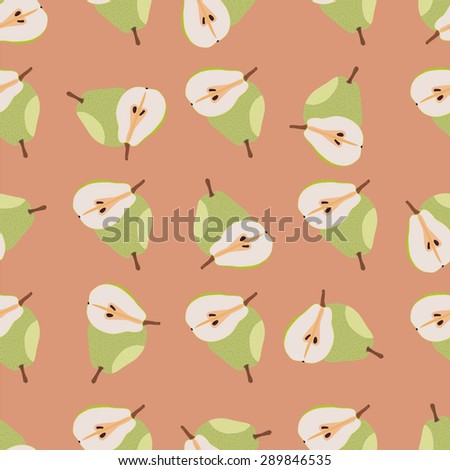 Green pears seamless pattern - stock vector