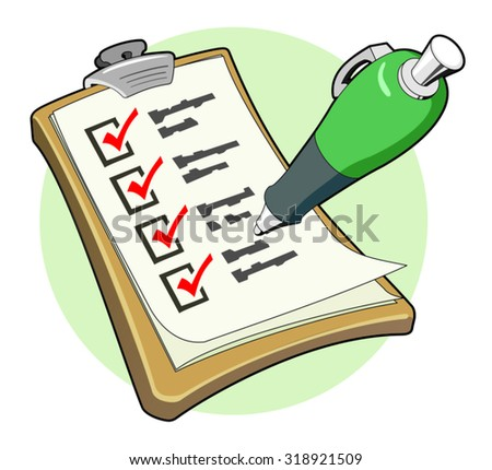 green pen ticking four check-boxes in red on a clipboard form - cartoon illustration - stock vector
