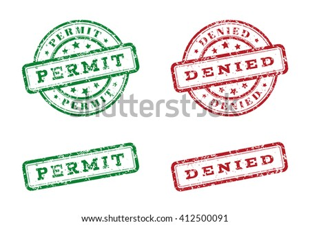 Green permit logo stamp and red denied logo stamp. grunge style on white background. vector illustration. template for web design. infographics - stock vector