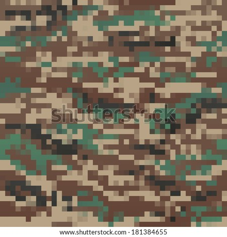 green pixel style seamless camouflage pattern  - stock vector