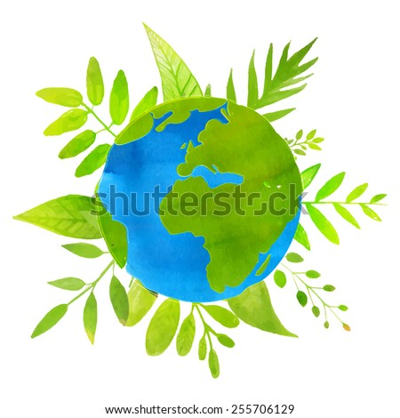 Green planet concept: earth illustration with watercolor texture and hand drawn leaves and plants. Eco friendly. - stock vector