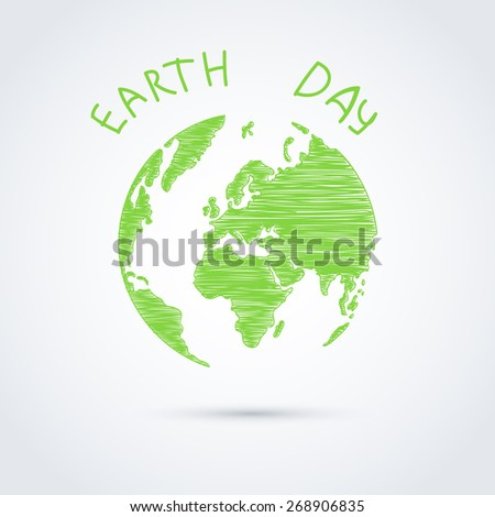 green planet, earth day handmade - stock vector