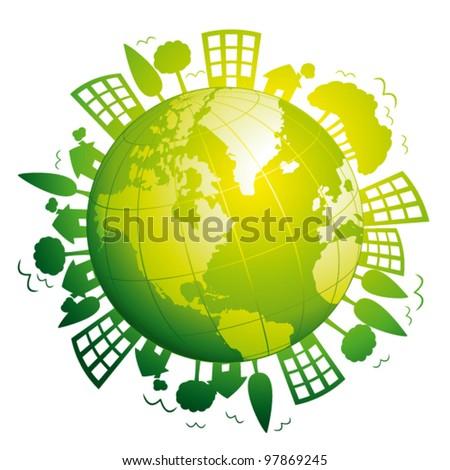 Green planet earth. Ecological concept. Vector icon. - stock vector